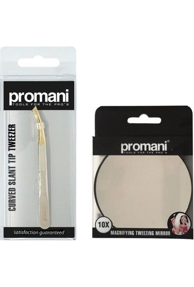 Promani 10X Büyüteçli Makyaj Aynası+Kavisli Eğik Uçlu Cımbız PR-926