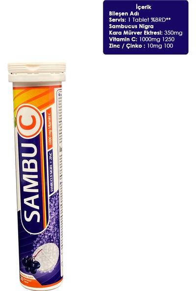 Sambuc Sambucus Nigra 350MG & Zinc + Vitamin C 1000 mg 20'li Tablet