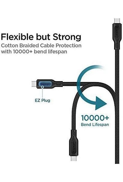 Spigen DuraSync Type-C to USB 2.0 Hızlı Şarj ve Data Kablo 1.5 mt Black C10HS - 000CA25700