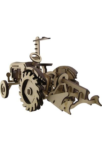 3D Sergi Ahşap Vintage Çiftlik Traktörü Maketi 114 Parça