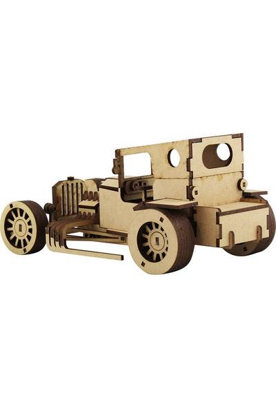 3D Sergi Ahşap T-Bucket Nostaljik Araba Maketi 144 Parça