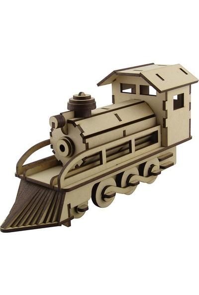3D Sergi Ahşap Buharlı Tren Maketi 72 Parça