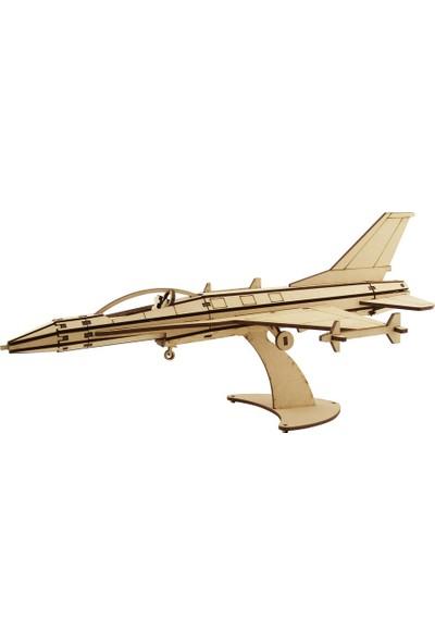 3D Sergi Ahşap Jet Fighter C Maketi 75 Parça