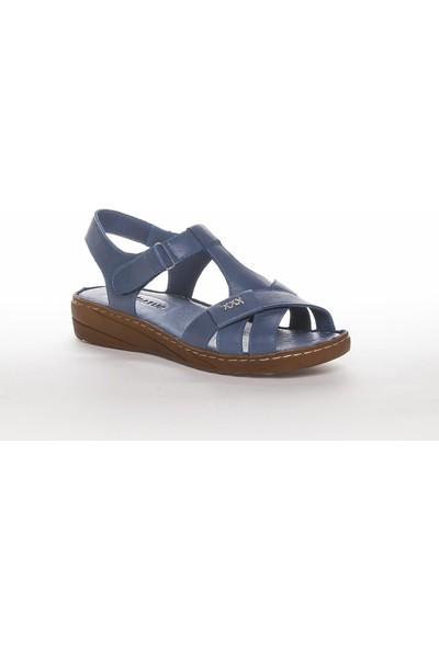 Deripabuc Hakiki Deri Kot Mavi Kadın Deri Sandalet Dp05-0223