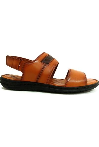 Egelioğlu 187 Taba Kahve Masaj Tabanlı Deri Erkek Sandalet