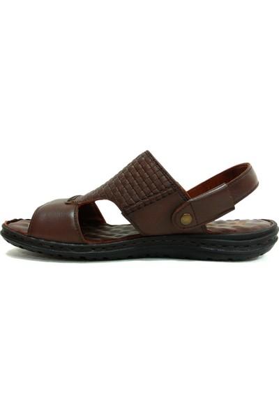 Egelioğlu 193S Kahve Masaj Tabanlı Deri Erkek Terlik Sandalet