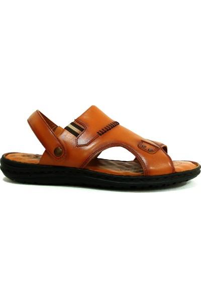 Egelioğlu 194S Taba Masaj Tabanlı Deri Erkek Terlik Sandalet