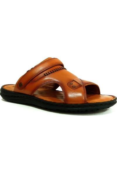 Egelioğlu 194T Taba Masaj Tabanlı Deri Erkek Terlik Sandalet