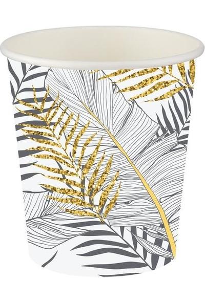 Kullan At Party Altın Simli Yapraklar Beyaz Karton Bardak 8'li