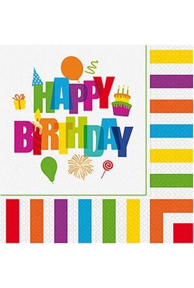 Kullan At Party Renkli Doğum Günü Kağıt Peçete 33 x 33 cm