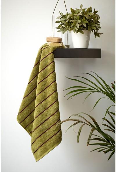 Mco Tekstil Yeşil Çok Çizgili El ve Yüz Havlusu 50x90 Line