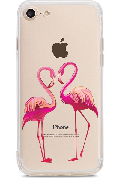 Bikapak Apple iPhone 7/8 İkili Flamingo Desenli Arka Kapak