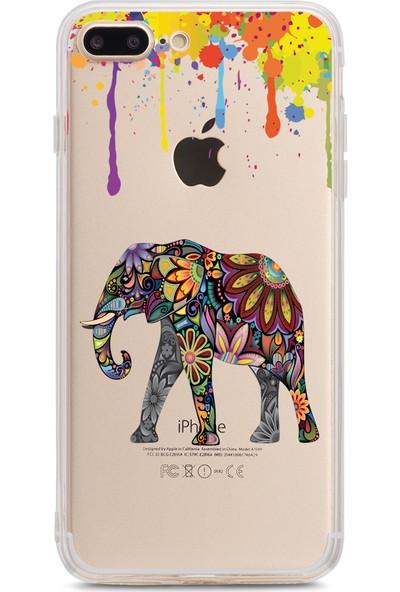 Bikapak Apple iPhone 7/8 Plus Renkli Fil Desenli Arka Kapak
