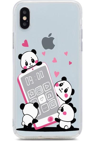 Bikapak Apple iPhone X Panda Tech Desenli Arka Kapak