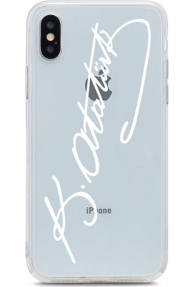 Bikapak Apple iPhone XS Max Beyaz Atatürk imza Desenli Arka Kapak