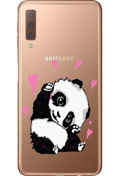 Bikapak Samsung Galaxy A7 2018 Panda Desenli Arka Kapak