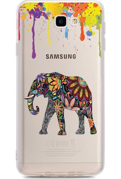 Bikapak Samsung Galaxy J7 Prime Renkli Fil Desenli Arka Kapak