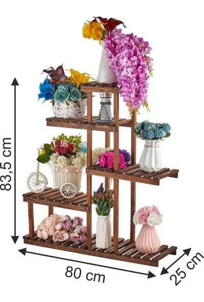 Novatıc Çiçeklik Saksılık Dekoratif Merdiven Çiçeklik Ahşap