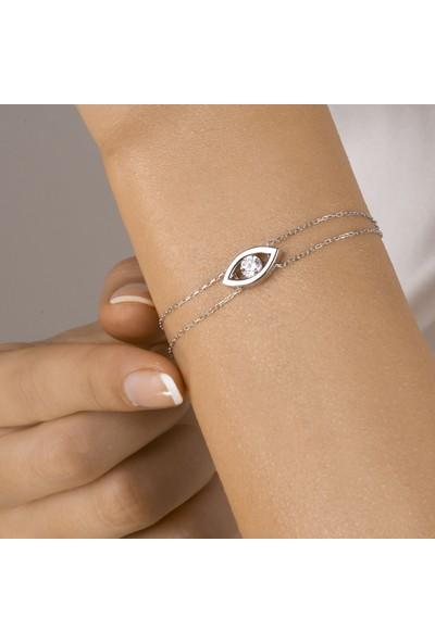 Swarovski Kadın Gümüş Tek Taş Bileklik