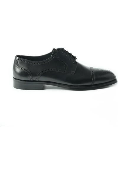 J Club Deri Desenli Bağcıklı Siyah Erkek Ayakkabı