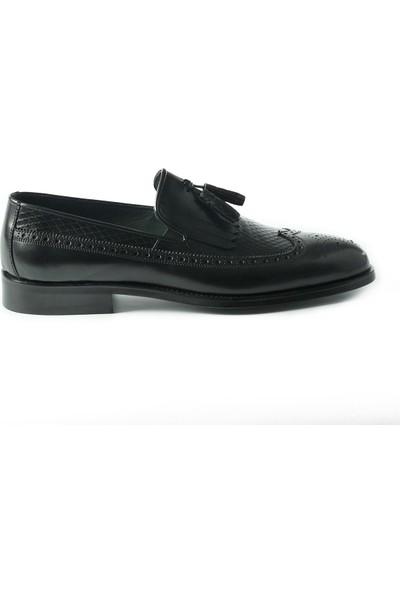 J Club Deri Loafer Püsküllü Siyah Erkek Ayakkabı