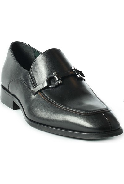 J Club Deri Loafer Tokalı Siyah Erkek Ayakkabı