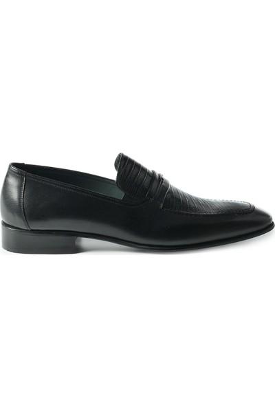 J Club Deri Tokalı Kroko Desenli Siyah Erkek Ayakkabı
