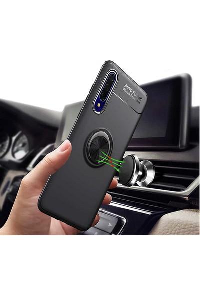Tekno Grup Samsung Galaxy Note 10 Lite (A81) Ultra Kılıf Ultra Korumalı Yüzüklü Manyetik Ravel Silikon + Cam Ekran Koruyucu Siyah