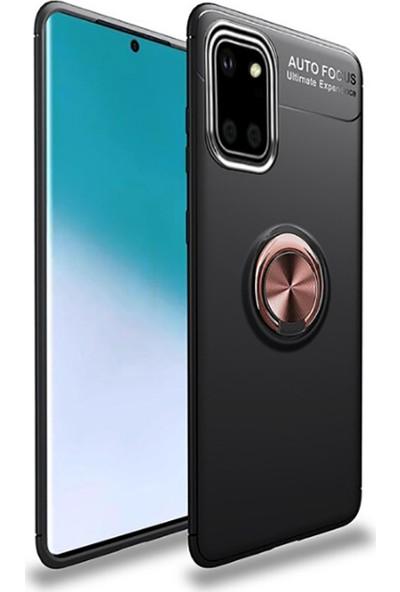 Tekno Grup Samsung Galaxy Note 10 Lite (A81) Ultra Kılıf Ultra Korumalı Yüzüklü Manyetik Ravel Silikon + Tam Kaplayan 6D Nano Ekran Koruyucu Siyah Rose