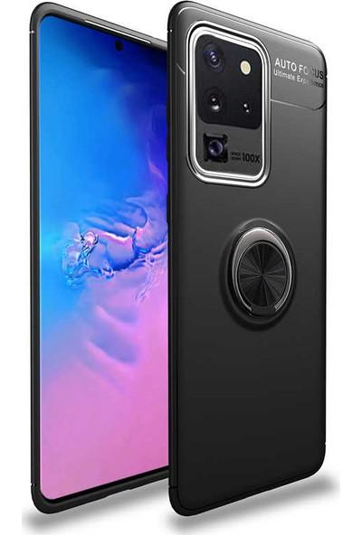 Tekno Grup Samsung Galaxy S20 Ultra Kılıf Ultra Korumalı Yüzüklü Manyetik Ravel Silikon Siyah