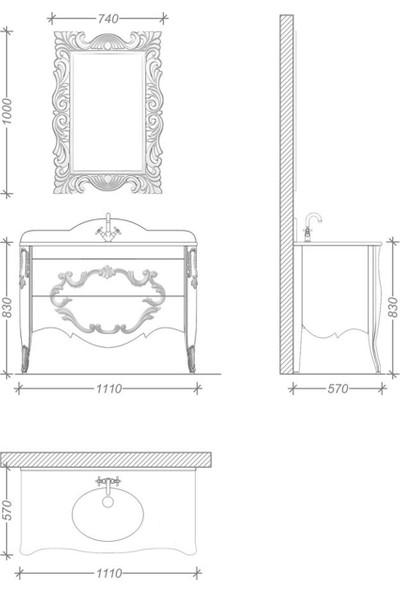 Netdeko Lecce Banyo Dolabı Beyaz Altin 110 cm