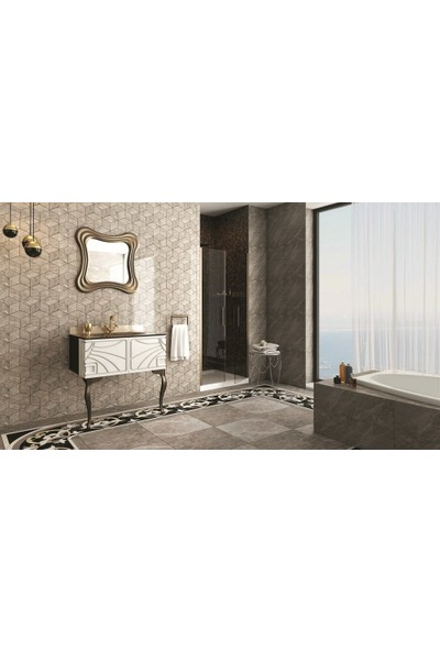 Netdeko Manolya Banyo Dolabı Bronz Beyaz 80 cm