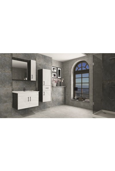 Netdeko Victoria Banyo Dolabı Padova - Beyaz 80 cm Boy Dolabı Dahil