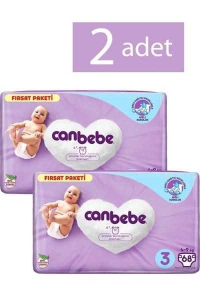 Canbebe Bebek Bezi 3 Beden Midi 68 Adet 2 Paket