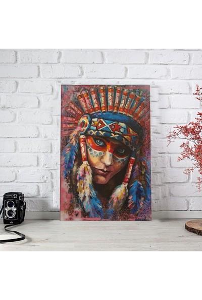 Ferman Hediyelik Kızılderili Temalı Ahşap Retro Poster 17,5 x 27,5 cm