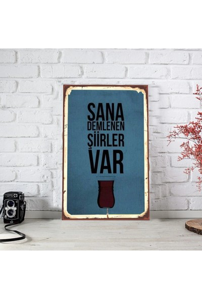 Ferman Hediyelik Çay Temalı Ahşap Retro Poster-3 17,5 x 27,5 cm