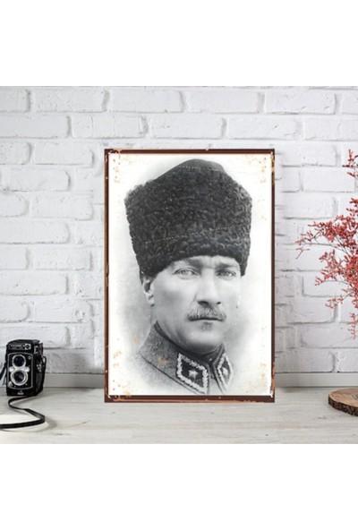 Ferman Hediyelik Atatürk Ahşap Retro Poster-2 17,5 x 27,5 cm
