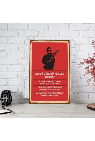 Ferman Hediyelik Askeri Güvenlik Bölgesi Ahşap Retro Poster 17,5 x 27,5 cm