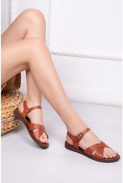 Deripabuc Hakiki Deri Taba Kadın Deri Sandalet Dp-0084