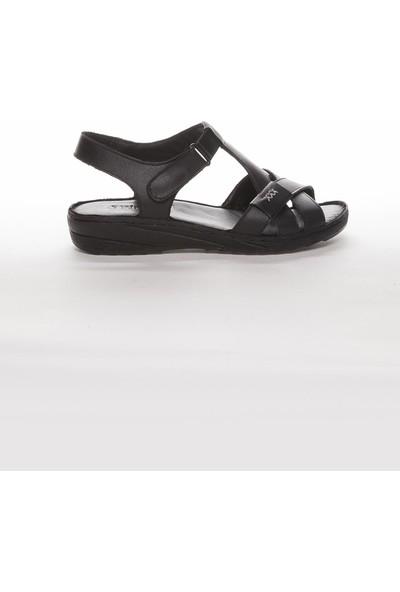 Deripabuc Hakiki Deri Siyah Kadın Deri Sandalet Dp05-0223