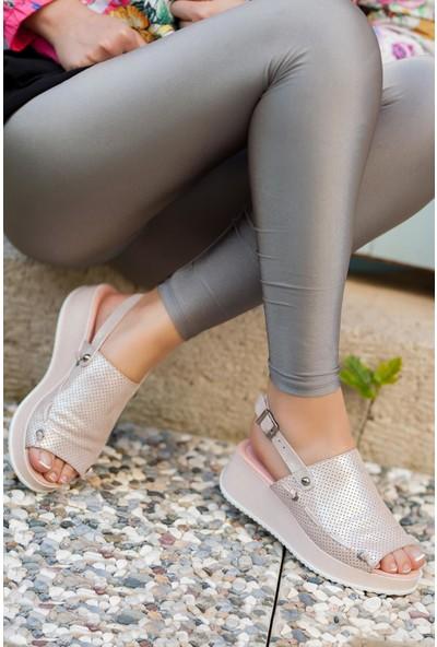 Deripabuc Hakiki Deri Pudra Simli Kadın Deri Sandalet Dp08-5018