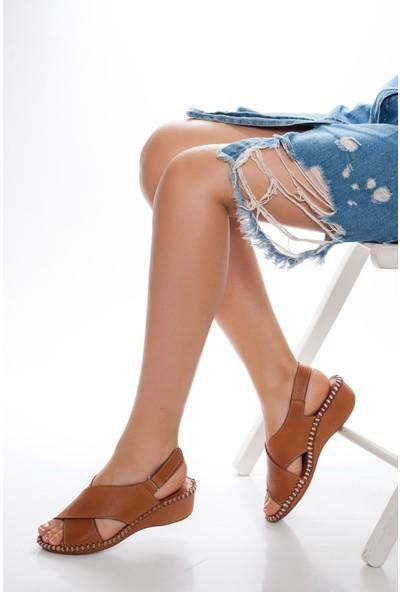 Deripabuc Hakiki Deri Taba Kadın Deri Sandalet Dp14-1203