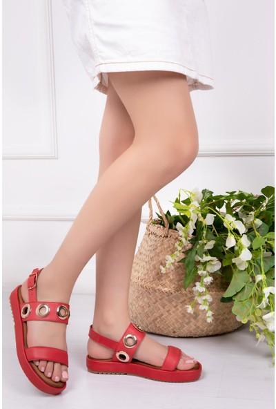 Deripabuc Hakiki Deri Kırmızı Kadın Deri Sandalet Dp53-9005