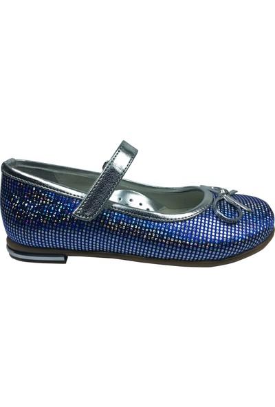 Cici Bebe Tıpış Tıpış Patik Babet Mavi Gümüş Benekli Baskılı Kız Çocuk Ayakkabı Cirtli İçi Deri