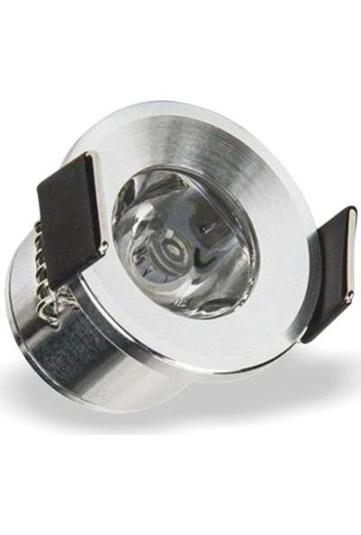 Helios Opto 1W Yuvarlak Krom Kasa LED Spot Günışığı