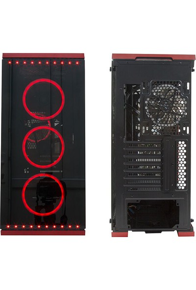 Rampage Temper Pro V5 4 x RGB Fan 6 x RGB Şerit USB 3.0 Tempered Glass Oyuncu Kasası