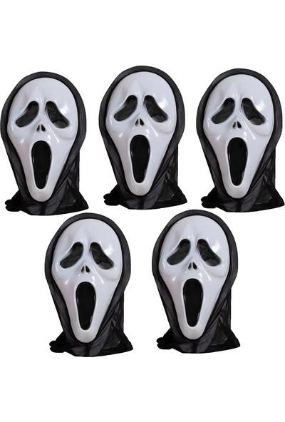 Kayra Siyah Beyaz Çığlık Maskesi Korku Parti Aksesuarı 5'li