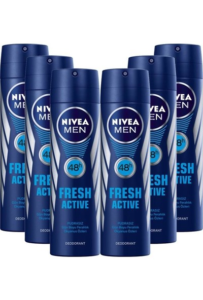 Nivea Men Fresh Active Deodorant 150ML 6 Adet