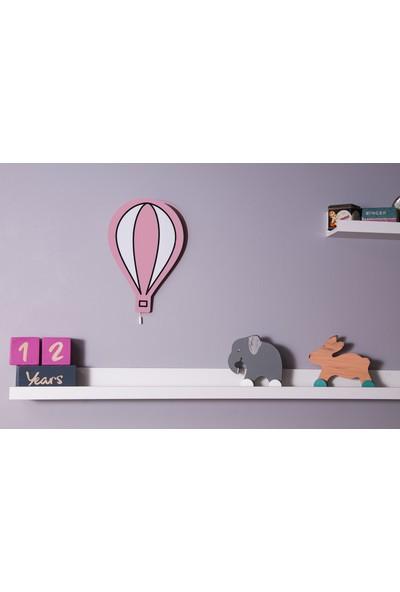 Om Oyuncak Pembe Balonlu 3'lü Ahşap Lamba Duvar Aydınlatma + 100 Adet Gri Yıldız Sticker