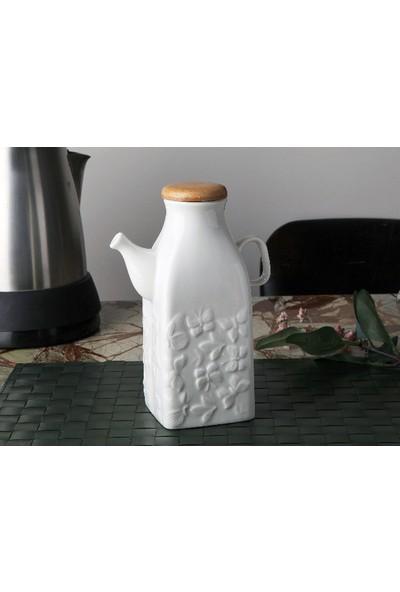 İkra Home Bambu Kapaklı Porselen Sütlük Yağdanlık (0,6 Litre) Kare